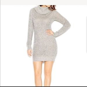 Bar III cowl neck silver sweater dress NWT nov5